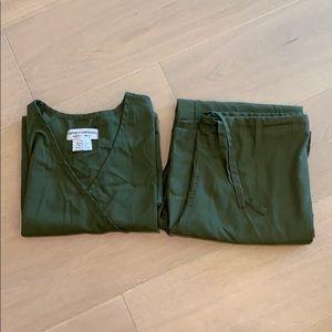 Olive green natural uniforms scrubs.